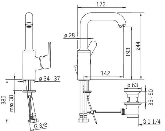 Rysunek techniczny baterii umywalkowej Aquita 2933F firmy Oras.