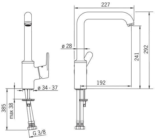Rysunek techniczny baterii kuchennej Aquita 2938F firmy Oras.