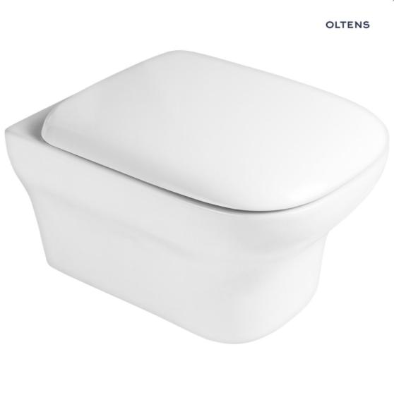 Oltens Gulfoss Miska WC wisząca PureRim z deską wolnoopadającą biała 42008000