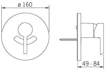 Rysunek techniczny podtynkowej baterii natryskowej, Nordia 2387 firmy Oras.