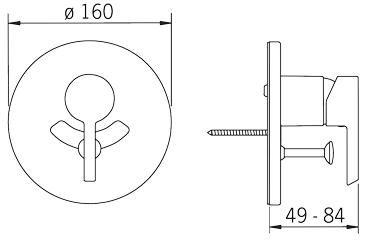 Rysunek techniczny baterii podtynkowej, wannowo-natryskowej Nordia 2388 firmy Oras.