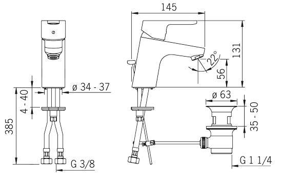 Rysunek techniczny baterii umywalkowej Aquita 2900F firmy Oras.