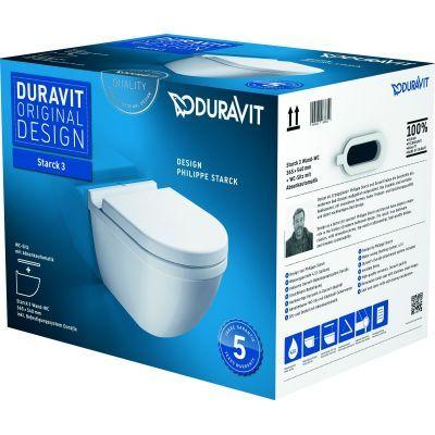 Duravit Starck 3 miska WC wisząca z deską wolnoopadającą białą  42250900A1