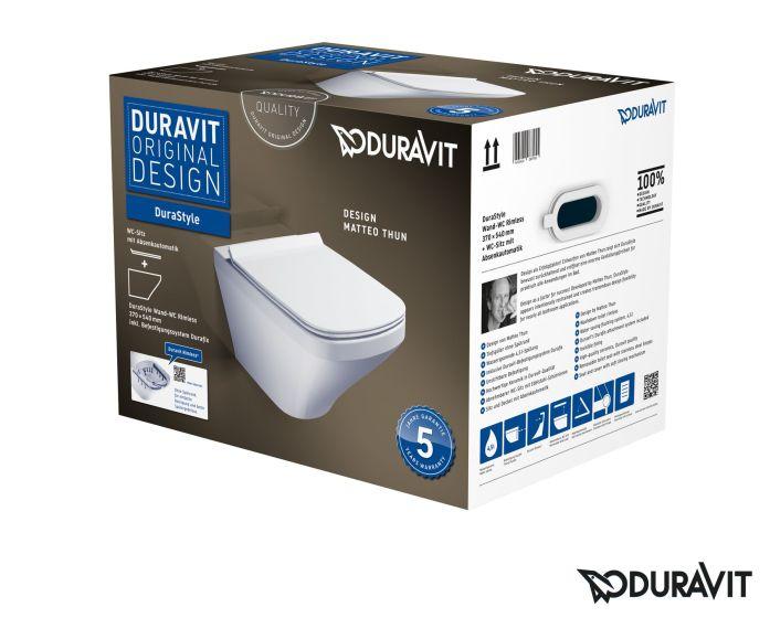 Duravit DuraStyle miska WC Rimless wisząca z deską wolnoopadającą białą  45510900A1