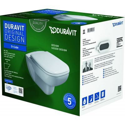 Duravit D-Code miska WC wisząca Rimless z deską wolnoopadającą białą  45700900A1