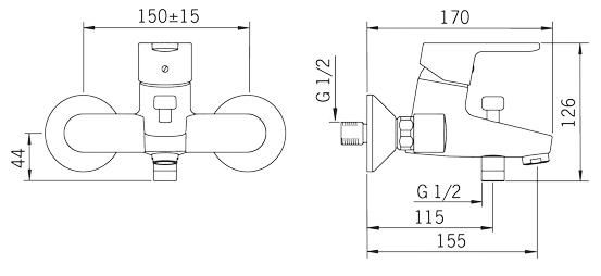 Rysunek techniczny ściennej baterii wannowo-natryskowej, Aquita 2940U firmy Oras.