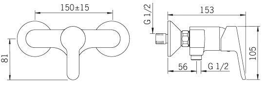 Rysunek techniczny baterii natryskowej Aquita 2960U firmy Oras.