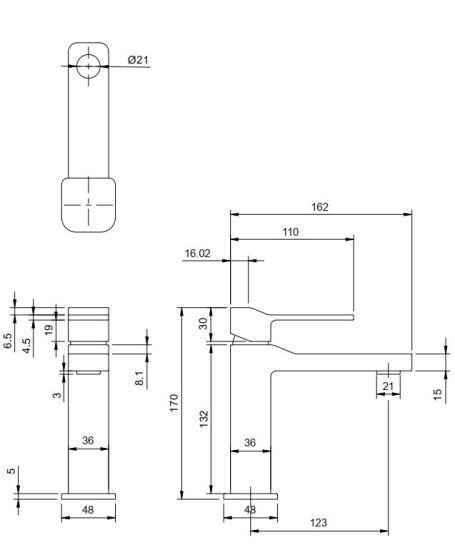 Omnires Slide bateria umywalkowa SL7710CR rysunek techniczny
