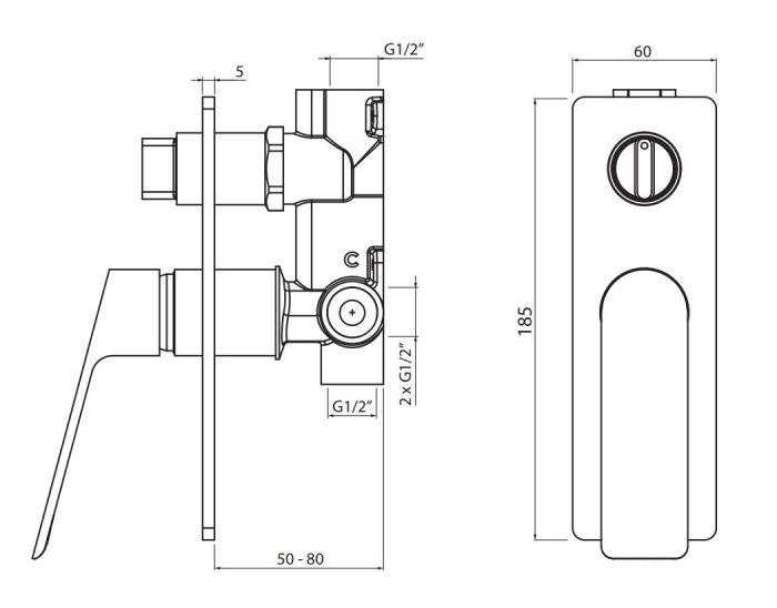 Bateria wannowo natryskowa z zestawu VBD4126 - rysunek techniczny