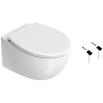 Zestaw Catalano Italy miska WC wisząca Newflush z deską wolnoopadającą białą i zestawem montażowym  1VS52RIT00+5NLV5STF00+5KFST00