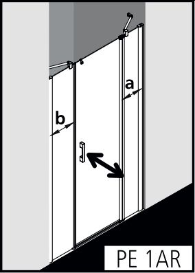 Kermi Pega drzwi wahadłowe 1-skrzydłowe z polami stałymi PE1AR15020VPK zabudowa strona prawa