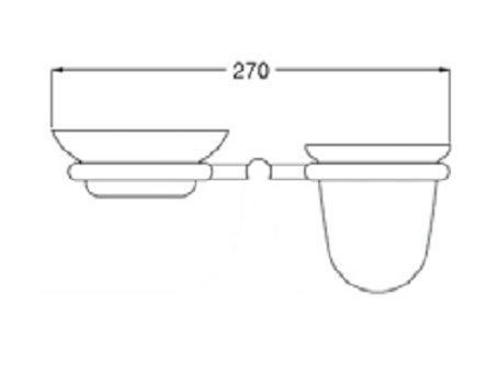 Rysunek techniczny wiszącej mydelniczki i kubka, Ibisco Crystal RG1143ZŁ Giulini Giovanni.