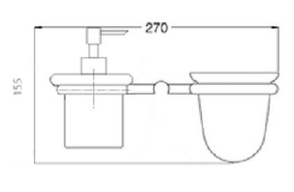 Rysunek techniczny wiszącego dozownika na mydło i kubka Ibisco Crystal RG1144BR Giulini Giovanni.