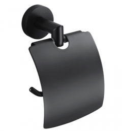 Stella Classic Uchwyt na papier toaletowy z osłonką czarny mat