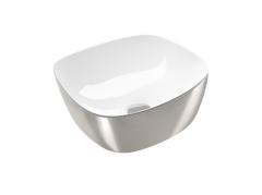 Catalano Gold&Silver Umywalka kwadratowa 40x40 cm biało-srebrna