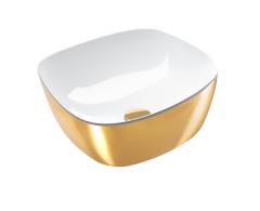 Catalano Gold&Silver Umywalka kwadratowa nablatowa  40x40 cm biało-złota