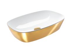 Catalano Gold&Silver Umywalka prostokątna nablatowa 60x40 cm biało-złota
