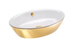 Catalano Gold&Silver Umywalka nablatowa owalna 60x42 cm biało-złota