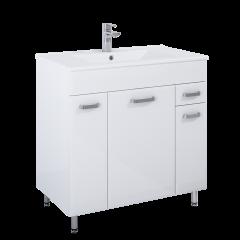 Elita Amigo Zestaw szafka z umywalką 80 cm 3D 1S biały połysk