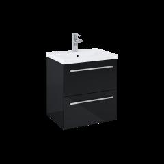 Elita Kwadro Plus Zestaw umywalka z szafką 50 cm 2S czarny połysk