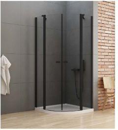 New Trendy New Soleo Black Kabina prysznicowa półokrągła plus 100x100 cm