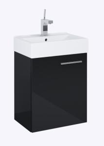 Elita Tiny Set umywalka + szafka 45 cm 1D biały/czarny połysk, chrom
