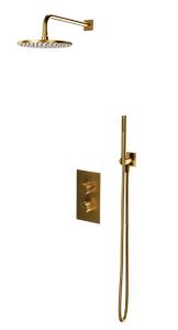 Omnires CONTOUR System prysznicowy podtynkowy termostatyczny złoto szczotkowane