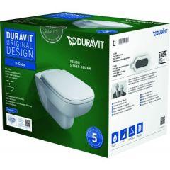 Duravit D-Code miska WC wisząca Rimless z deską wolnoopadającą białą