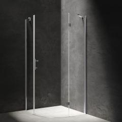 Omnires Manhattan Kabina prysznicowa półokrągła drzwi uchylne 90x90 cm chrom