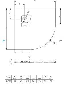 Riho BASEL Brodzik półokrągły 90x90 cm czarny mat