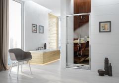 Sanplast TX DŁ/TX5b Drzwi prysznicowe łamane 90 cm (87,4-90,4 cm) profil srebrny poł. szkło przeźr.
