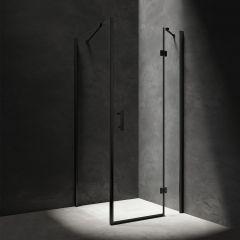 Omnires Manhattan Kabina prysznicowa 100x80 cm drzwi uchylne czarny mat