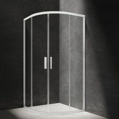 Omnires Chelsea Kabina półokrągła 90 cm drzwi przesuwne biała