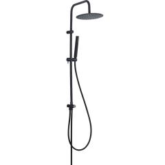 Laveo Pretto zestaw prysznicowy ścienny z deszczownicą czarny mat PLP70OX