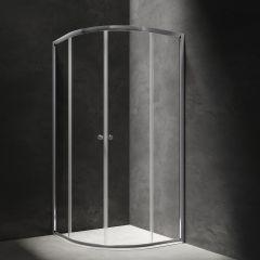 Omnires Kabina półokrągła drzwi przesuwne 80x80 cm chrom