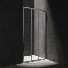 Omnires S Drzwi prysznicowe przesuwne trójdzielne 80 cm chrom