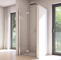 SanSwiss Solino Drzwi dwuczęściowe lewe 120 cm (98-100 cm) srebrny połysk