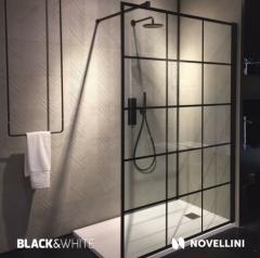 Novellini Kuadra H Squares Kabina walk-in przyścienna 100 cm (97-100 cm) profil czarny mat