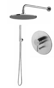 Vema Tiber Steel Zestaw natryskowy podtynk. z deszczownią okrągłą 25 cm inox